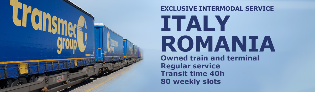 Intermodal transport Italy Romania, owned train and terminal, regular service, transit time 40h, 80 weekly slots
