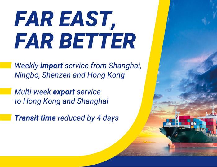Tiempo de tránsito reducido con el Extremo Oriente